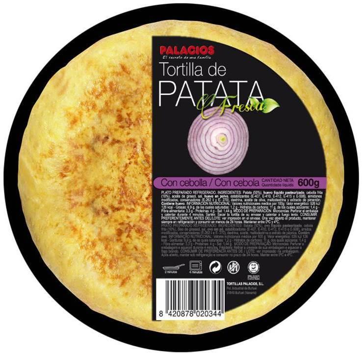 tortilla de patatas con cebolla Palacios
