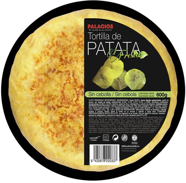Tortilla de patata sin cebolla Palacios